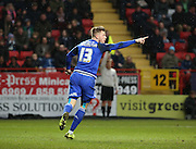 Cardiff City midfielder, Anthony Pilkington (13) thinking he had scored during the Sky Bet Championship match between Charlton Athletic and Cardiff City at The Valley, London, England on 13 February 2016. Photo by Matthew Redman.