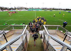 Bristol Players make their way to the changing rooms  - Mandatory byline: Joe Meredith/JMP - 05/12/2015 - RUGBY - Billesley Common - Birmingham, England - Moseley v Bristol Rugby - Greene King IPA Championship
