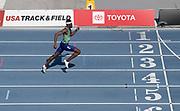 Jul 27, 2019; Des Moines, IA, USA; Rai Benjamin wins the 400m hurdles in 47.23 during the USATF Championships at Drake Stadium.
