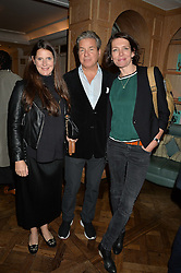 Left to right, HUGO & BLANCHE DE FERRANTI and THOMASINA MIERS at a party hosted by Ewan Venters CEO of Fortnum & Mason to celebrate the launch of The Cook Book by Tom Parker Bowles held at Fortnum & Mason, 181 Piccadilly, London on 18th October 2016.