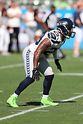 Seattle Seahawks free safety Earl Thomas (29) makes a move during pregame warmups before the 2017 NFL week 1 preseason football game against the against the Los Angeles Chargers, Sunday, Aug. 13, 2017 in Carson, Calif. The Seahawks won the game 48-17. (©Paul Anthony Spinelli)
