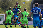 Forest Green Rovers Farrend Rawson(20) heads the ball clear during the EFL Sky Bet League 2 match between Forest Green Rovers and Grimsby Town FC at the New Lawn, Forest Green, United Kingdom on 5 May 2018. Picture by Shane Healey.