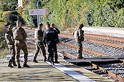 November 10, 2016 - Sospel, France: Police and military patrol at the Sospel train station near Breil-sur-Roya hoping to block refugees coming from Italy to enter France. <br /> <br /> 10 novembre 2016 - Sospel, France: une patrouille policière et militaire à la gare de Sospel près de Breil-sur-Roya, où ils  espérent bloquer des réfugiés venus d'Italie d'entrer en France
