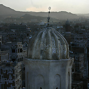 The view of a minaret from my hotel room at the Burj al Salaam hotel in San'aa, the capital of Yemen.