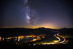 """""""Milky Way Above Donner Lake 4"""" - Photograph of the Milky Way above Donner Lake and Hwy 80 in Truckee, California."""