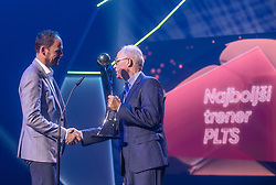 Ante Simundza and dr. Zdenko Verdenik during SPINS XI Nogometna Gala 2019 event when presented best football players of Prva liga Telekom Slovenije in season 2018/19, on May 19, 2019 in Slovene National Theatre Opera and Ballet Ljubljana, Slovenia. ,Photo by Urban Meglic / Sportida