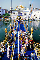 Looking out from the Golden Temple (holiest Sikh shrine), Amritsar, Punjab, India