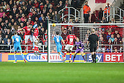 Bristol City's Jonathan Kodjia heads home his teams 1st goal during the Sky Bet Championship match between Bristol City and Wolverhampton Wanderers at Ashton Gate, Bristol, England on 3 November 2015. Photo by Shane Healey.