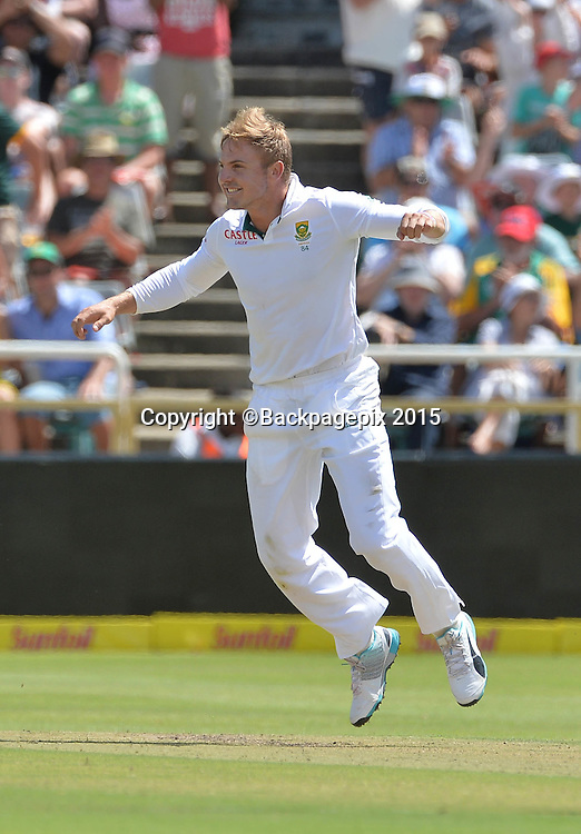 Stiaan van Zyl of South Africa celebrates taking the wicket of Shivnarine Chanderpaul of West Indies during Day 1 of the 2015 Sunfoil Test Series Cricket Match between South Africa and the West Indies at Newlands Stadium, Cape Town on 2 January 2015 ©Chris Ricco/BackpagePix