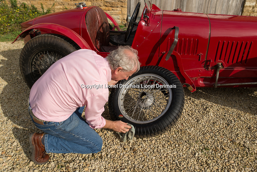 """Julian Majzub, founder / owner of """"Blockley tyre"""" at home in Gloucestershire. Maserati Type 26M from 1931."""
