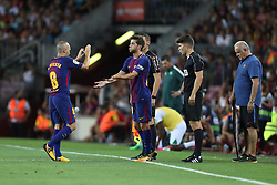 August 7, 2017 - Barcelona, Spain - Andres Iniesta of FC Barcelona shakes hands with Sergi Roberto as he is substituted during the 2017 Joan Gamper Trophy football match between FC Barcelona and Chapecoense on August 7, 2017 at Camp Nou stadium in Barcelona, Spain. (Credit Image: © Manuel Blondeau via ZUMA Wire)