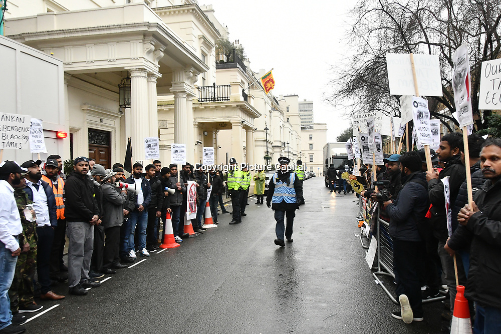 Tamil protest against Sri Lanka independence day and demand to free all Tamil prisoner held in Sri Lanka camp without charge on 4 Feb 2019, outside Sri Lanka Embassy London, UK