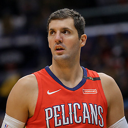 Apr 4, 2018; New Orleans, LA, USA; New Orleans Pelicans forward Nikola Mirotic against the Memphis Grizzlies during the first quarter at the Smoothie King Center. Mandatory Credit: Derick E. Hingle-USA TODAY Sports