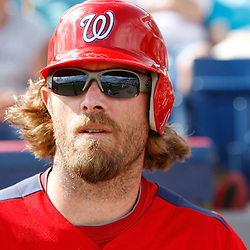March 4, 2011; Viera, FL, USA; Washington Nationals right fielder Jayson Werth (28) during a spring training exhibition game against the Atlanta Braves at Space Coast Stadium.  Mandatory Credit: Derick E. Hingle