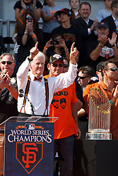November 3, 2010; San Francisco, CA, USA;  San Francisco Giants owner representative William Neukom speaks during the World Series victory parade at City Hall.