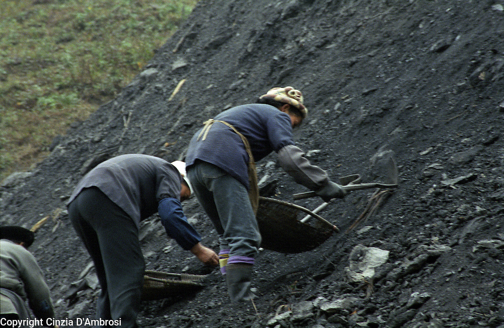Coal miners working in overground mining.