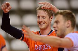 20150614 NED: World League Nederland - Finland, Almere<br /> De Nederlandse volleyballers hebben in de World League ook hun tweede duel met Finland gewonnen. Na de 3-0 zege van zaterdag werd zondag in Almere met 3-1 (22-25, 25-20, 25-13, 25-19) gewonnen / Kay van Dijk #12