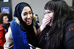 Asma Mohammed and Ashley Fairbanks celebrate as results come in as Ilhan Omar is poised to become the first Somali-American elected to Congress, representing Minnesota's Fifth District, at her election night headquarters in Minneapolis on Tuesday, November 6, 2018. Photo by Mark Vancleave/Minneapolis Star Tribune/TNS/ABACAPRESS.COM