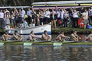 Henley, GREAT BRITAIN,  CUWBC, Cambridge women's blue boat passes Upper Thames RC on it way to victory in the 2012 Women's Boat Race.  Henley Boat Races, Raced on Henley Reach, Henley on Thames, England, Sunday  25/03/2012. [Mandatory Credit, Peter Spurrier/Intersport-images..Bow: Sarah Moir-Porteous, 2: Caroline Reid, 3: Rebecca Pound, 4: Anna Railton, 5: Holly Game, 6: Isabel Boanas-Evans, 7: Fay Sandford, Stroke: Cath Wheeler,Cox: Kate Richards.