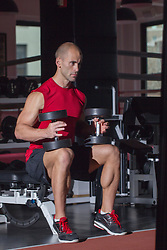 muscular man working out with dumbbells in the gym