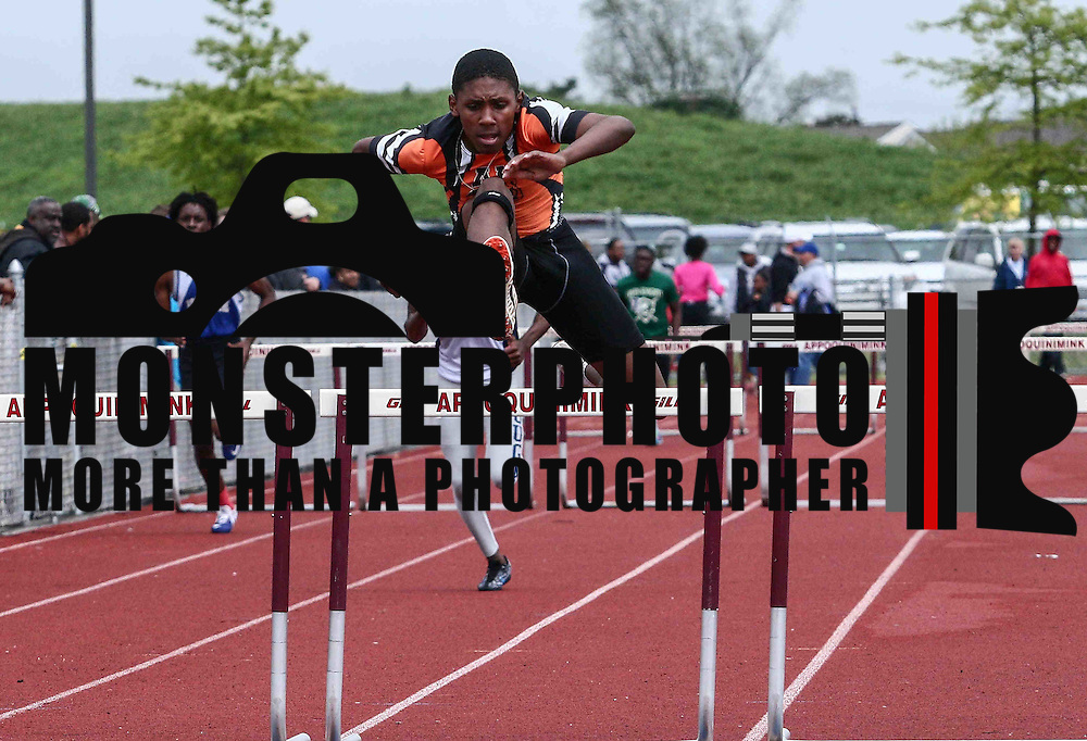 A.I duPont Lexington Johnson clears a hurdle in the course of the Boys 110 Meter Hurdles event during blue hen conference track and field meet Saturday, May 7, 2016, at Appoquinimink, in Middletown.