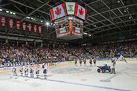 KELOWNA, CANADA - MAY 11: The Kelowna Rockets line up against the Brandon Wheat Kings on May 11, 2015 during game 3 of the WHL final series at Prospera Place in Kelowna, British Columbia, Canada.  (Photo by Marissa Baecker/Shoot the Breeze)  *** Local Caption ***