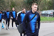AFC Wimbledon striker Joe Pigott (39), AFC Wimbledon midfielder Scott Wagstaff (7), arriving during the EFL Sky Bet League 1 match between AFC Wimbledon and Barnsley at the Cherry Red Records Stadium, Kingston, England on 19 January 2019.