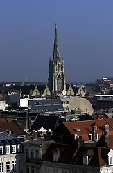 LILLE , FRANCE - FEB-22-2003 - Lille , France has been named the 2004 European Capital of Culture. The spire of the St. Maurice church towers over downtown Lille. (PHOTO © JOCK FISTICK)..