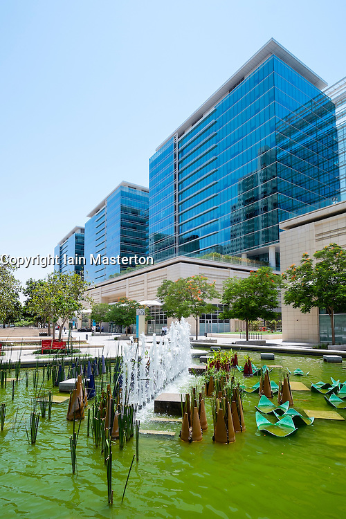 View of modern office buildings at Jebel Ali Downtown commercial property development in Dubai United Arab Emirates