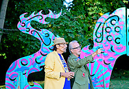 Roslyn, New York, U.S. September 13, 2019. L-R, GARY BARAT and Dr. HARVEY MANES discuss large outdoor dragon Animodules at ANIMODULES Agents of Peace exhibit Farewell Reception and Founders' talk by Gary Barat and Chandri Barat  at the Nassau County Museum of Art's Manes Art & Education Center, named for Dr. Manes, who spearheaded the exhibit.