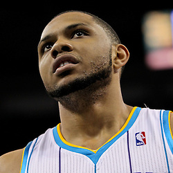 April 19, 2012; New Orleans, LA, USA; New Orleans Hornets shooting guard Eric Gordon (10) against the Houston Rockets during the first quarter at the New Orleans Arena. The Hornets defeated the Rockets 105-99.  Mandatory Credit: Derick E. Hingle-US PRESSWIRE