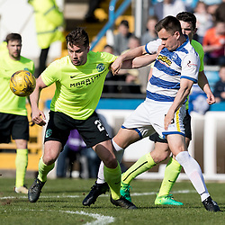 Darren McGregor (Hibernian) and Lawrence Shankland  during the Ladbrokes Championship match between Greenock Morton &amp; Hibernian at Cappielow Stadium on 8 April 2017<br /> <br /> Picture: Alan Rennie
