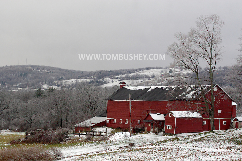 Otisville , NY - Freezing rain left a coating of ice on the countryside after a winter storm on Dec. 11, 2007.