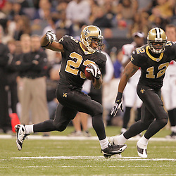 2008 December, 07: New Orleans Saints running back Pierre Thomas (23) runs during a 29-25 victory by the New Orleans Saints over NFC South divisional rivals the Atlanta Falcons at the Louisiana Superdome in New Orleans, LA.