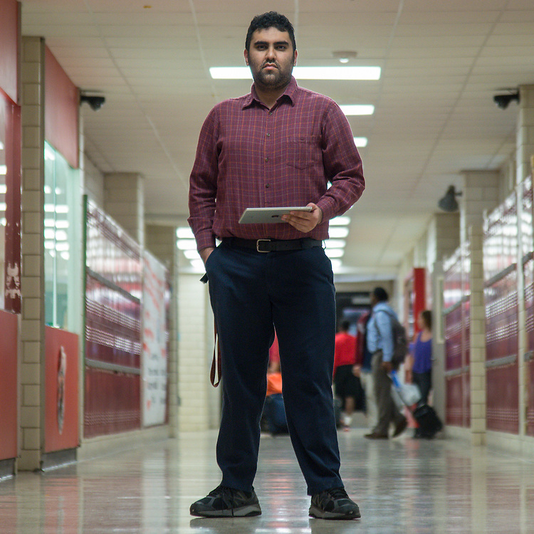 Sebastian Obando poses for a photograph at Furr High School , October 2, 2015.<br /> <br /> I want to be a Google engineer.