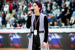 Lea Sirk singing the National anthem during basketball match between KK Sixt Primorska and KK Hopsi Polzela in final of Spar Cup 2018/19, on February 17, 2019 in Arena Bonifika, Koper / Capodistria, Slovenia. Photo by Vid Ponikvar / Sportida