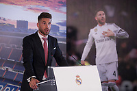 Real Madrid's defender and captain Sergio Ramos speaks during a press conference announcing his contract renewal  in Madrid, Spain. August 17, 2015. (ALTERPHOTOS/Victor Blanco)