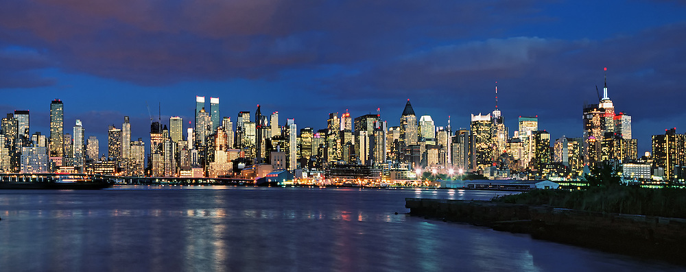 Reflection of sunset in Manhattan windows