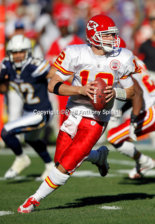 Kansas City Chiefs quarterback Brodie Croyle (12) rolls out while looking to pass during the NFL week 14 football game against the San Diego Chargers on Sunday, December 12, 2010 in San Diego, California. The Chargers won the game 31-0. (©Paul Anthony Spinelli)