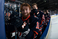 KELOWNA, CANADA - FEBRUARY 23:  Zane Franklin #16 of the Kamloops Blazers stands on the bench during the national anthem against the Kelowna Rockets on February 23, 2019 at Prospera Place in Kelowna, British Columbia, Canada.  (Photo by Marissa Baecker/Shoot the Breeze)