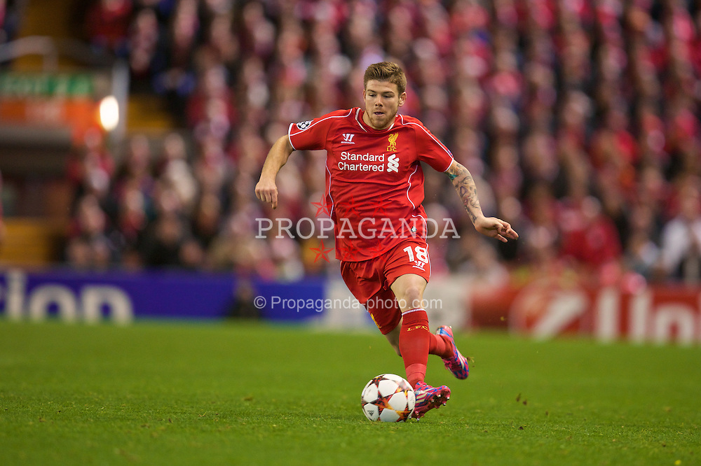 LIVERPOOL, ENGLAND - Wednesday, October 22, 2014: Liverpool's Alberto Moreno in action against Real Madrid CF during the UEFA Champions League Group B match at Anfield. (Pic by David Rawcliffe/Propaganda)