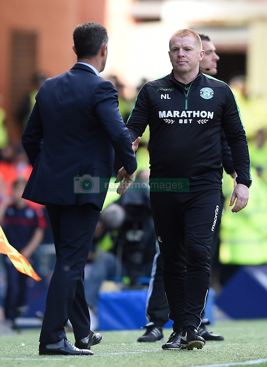 Hibernian manager Neil Lennon goes to shake hands with Rangers Manager Pedro Caixinha after the Ladbrokes Scottish Premiership match at the Ibrox Stadium, Glasgow.
