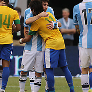 Lionel Messi, Argentina, and Neymar, Brazil, embrace after the Brazil V Argentina International Football Friendly match at MetLife Stadium, East Rutherford, New Jersey, USA. 9th June 2012. Photo Tim Clayton