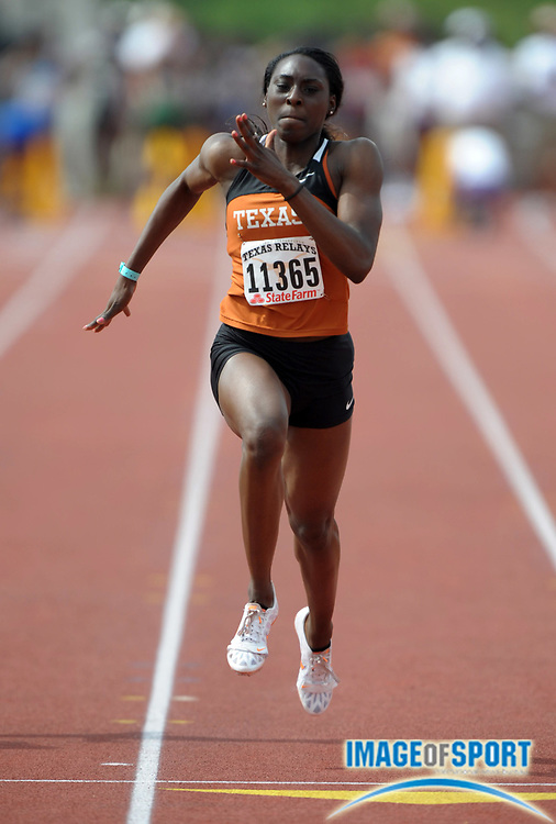 Mar 30, 2012; Austin, TX, USA; Chalonda Goodman of Texas runs 11.42 in a womens 100m heat in the 85th Clyde Littlefield Texas Relays at Mike A. Myers Stadium.