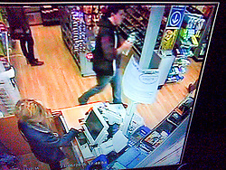 @ London News Pictures. 25/05/2015. CCTV of suspect Jed Allen buying water at Oxford railway station just two hours before his family members were found dead. Police are currently hunting for 21-year-old Jed, after the discovery of three of his family members at a house in Didcot, Oxfordshire on Saturday evening. Photo credit: LNP
