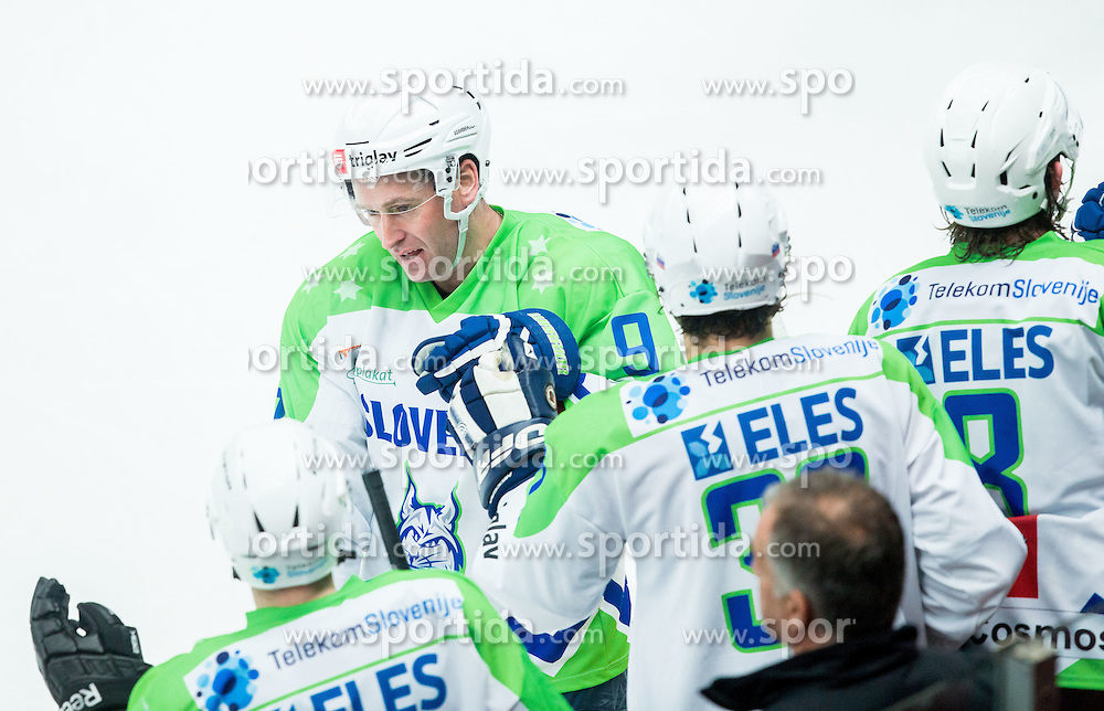 Tomaz Razingar of Slovenia celebrates after scoring 4th goal during ice-hockey friendly match between National teams of Slovenia and Japan, on April 10, 2015 in Arena Podmezakla, Jesenice, Slovenia. Photo by Vid Ponikvar / Sportida