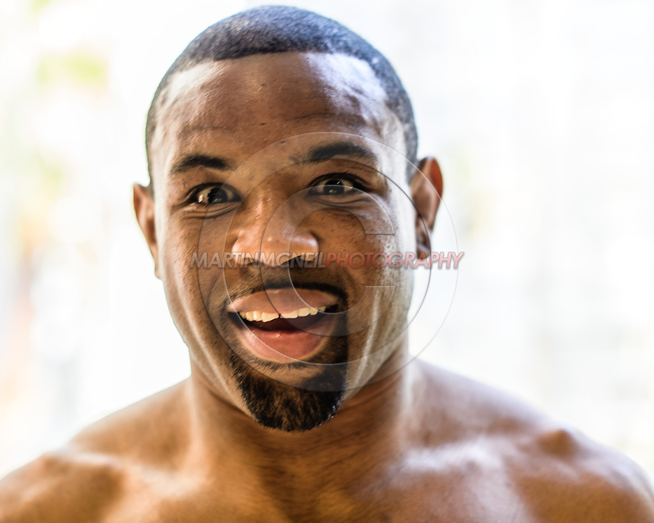 LONG BEACH, CALIFORNIA, OCTOBER 31, 2013: Emanuel Newton poses for a portrait inside the Westin hotel in Long Beach, California ahead of their fight at Bellator CVI (© Martin McNeil)