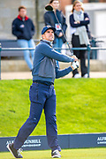 Former England cricketer Kevin Pietersen watches his tee shot on the first hole during the third round of the Alfred Dunhill Links Championship European Tour at St Andrews, West Sands, Scotland on 28 September 2019.