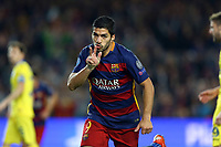 Luis Suarez of FC Barcelona celebrates after scoring his side's second goal during the UEFA Champions League Group E football match between FC Barcelona and Bate Borisov on November 4, 2015 at Camp Nou stadium in Barcelona, Spain. <br /> Photo Manuel Blondeau/AOP.Press/DPPI