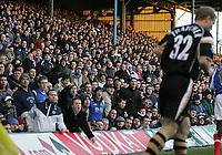 Photo: Lee Earle.<br /> Portsmouth v Charlton Athletic. The Barclays Premiership. 20/01/2007.the Portsmouth fans taunt Charlton's Ben Thatcher (R).